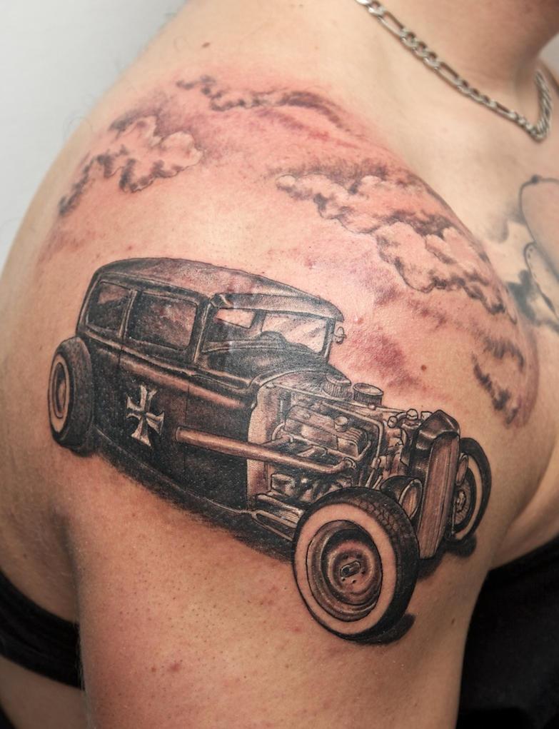 hotrod tattoo - shoulder tattoo