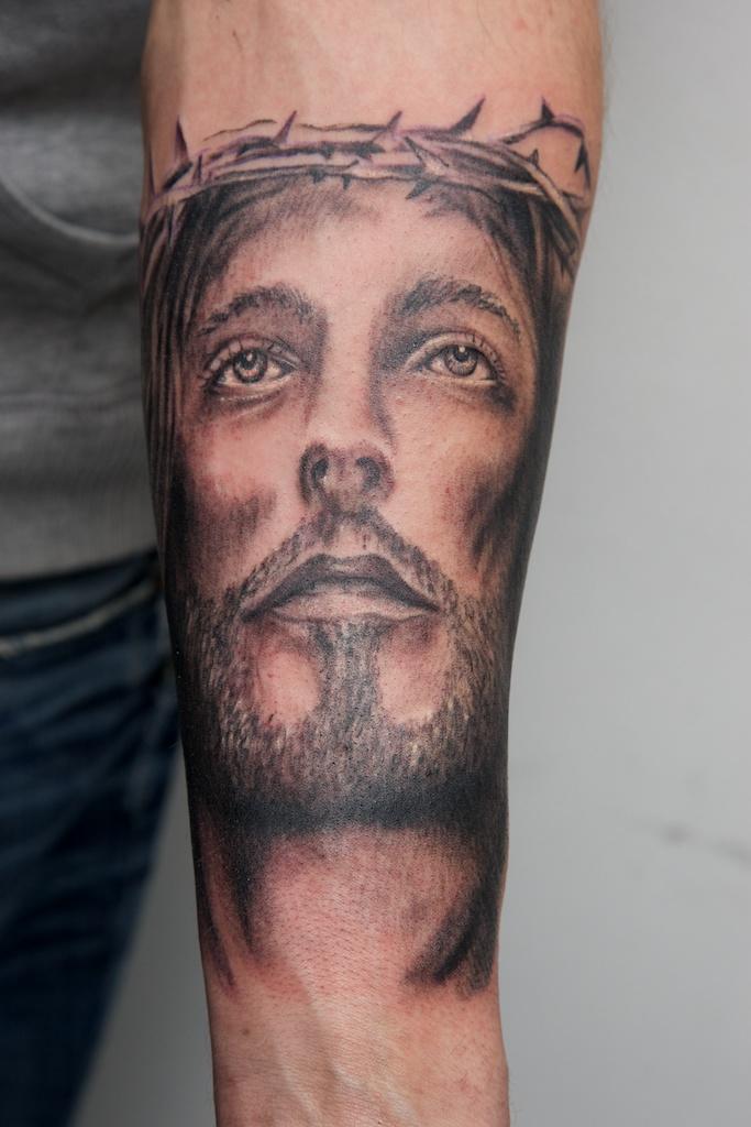 jesus tattoo on forearm...wip