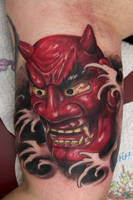 asian mask tattoo by graynd