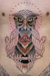 owl tattoo WIP