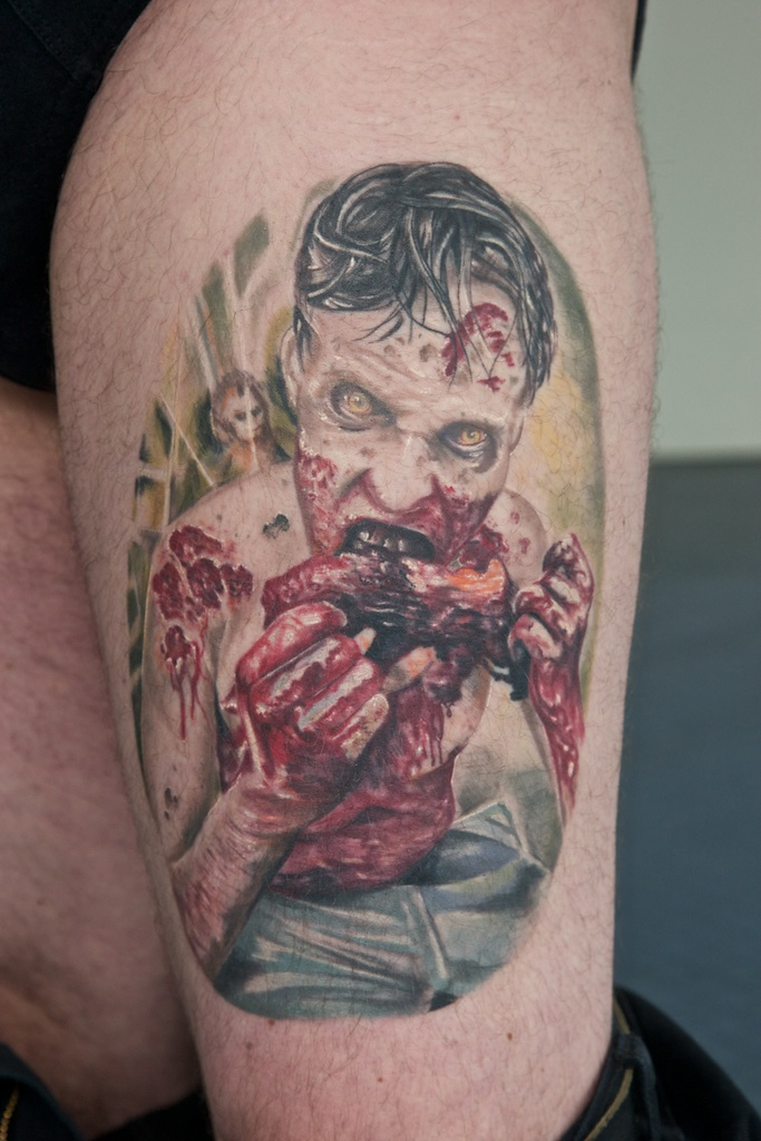 The walking dead tattoo healed by graynd