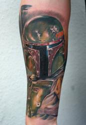 Boba Fett tattoo on forearm