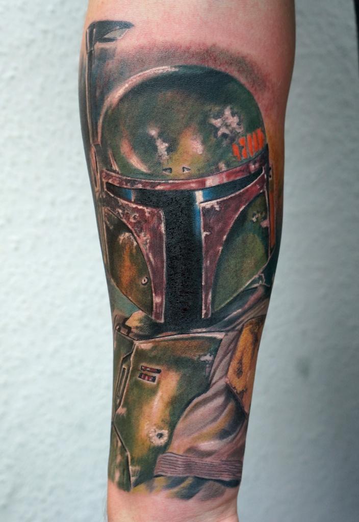 Boba Fett tattoo on forearm by graynd