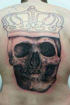 skull with crown backpiece in progress