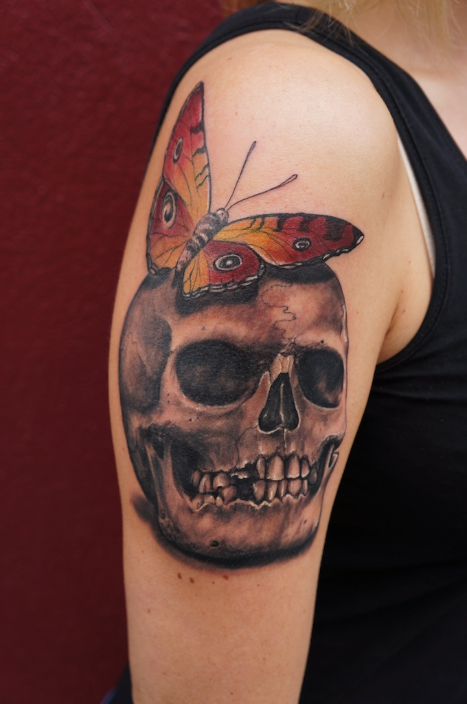 a skull with butterfly by graynd