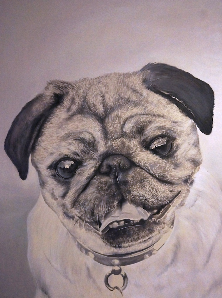 Our pug on a canvas with oil by graynd