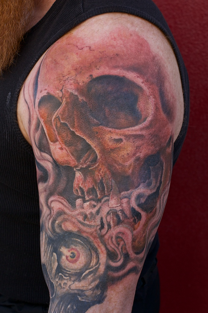 skull tattoo in progress by graynd