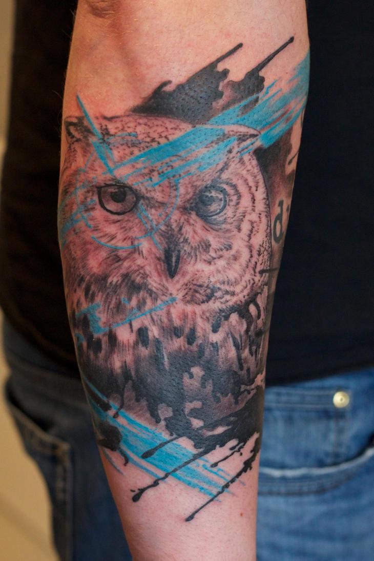 an owl tattoo by graynd