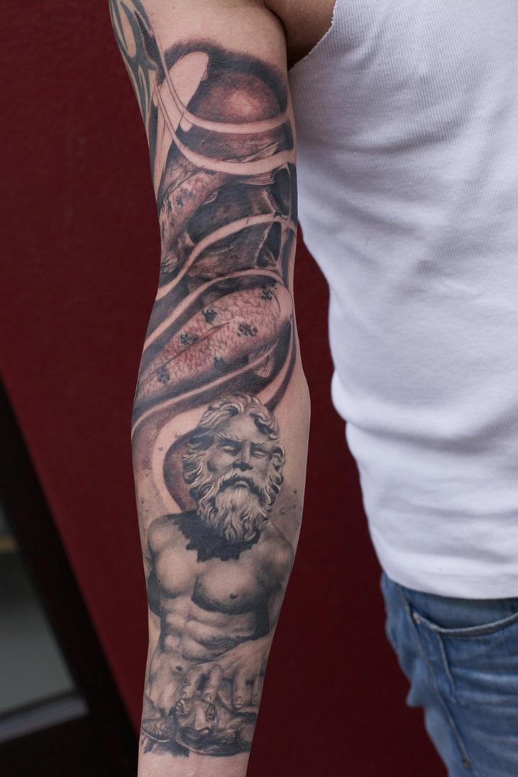 poseidon tattoo arm project by graynd