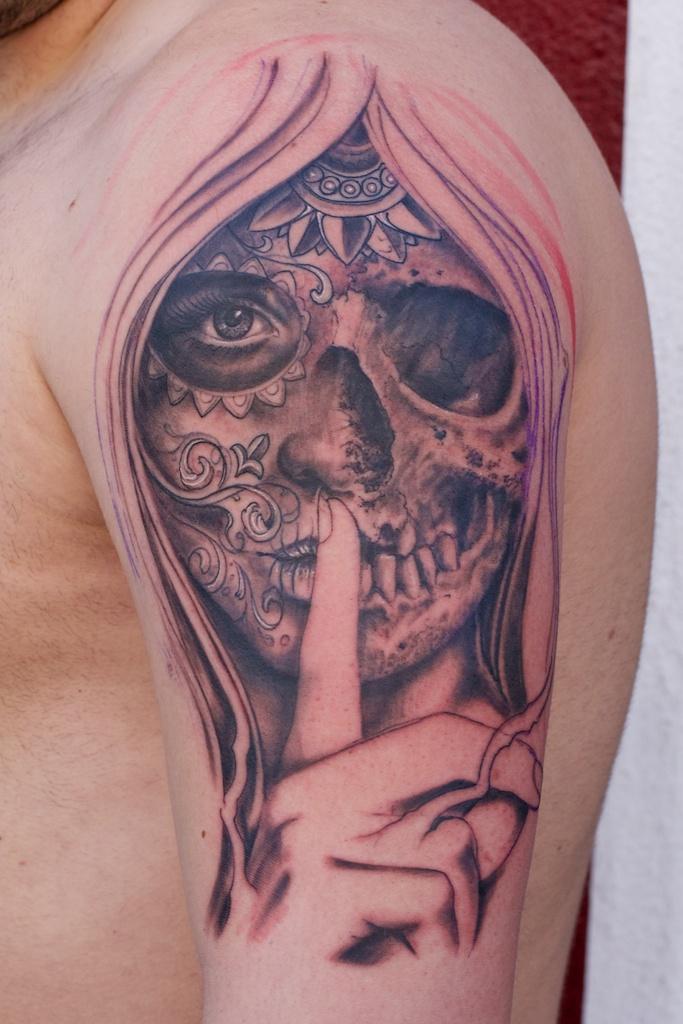 la catrina skull tattoo in progress... by graynd