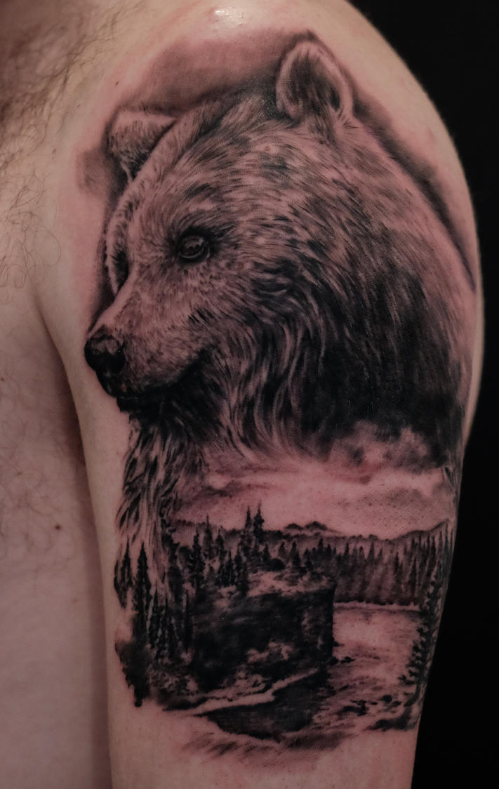 bear tattoo in progress... by graynd