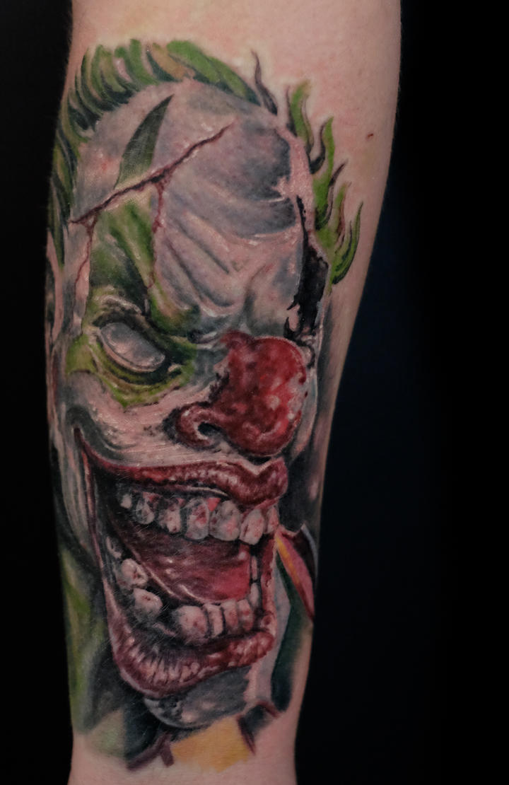 horror clown tattoo by graynd