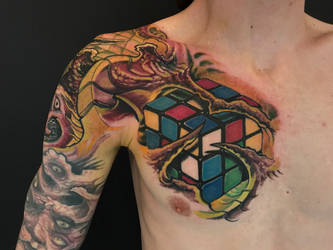 rubix cube tattoo by graynd
