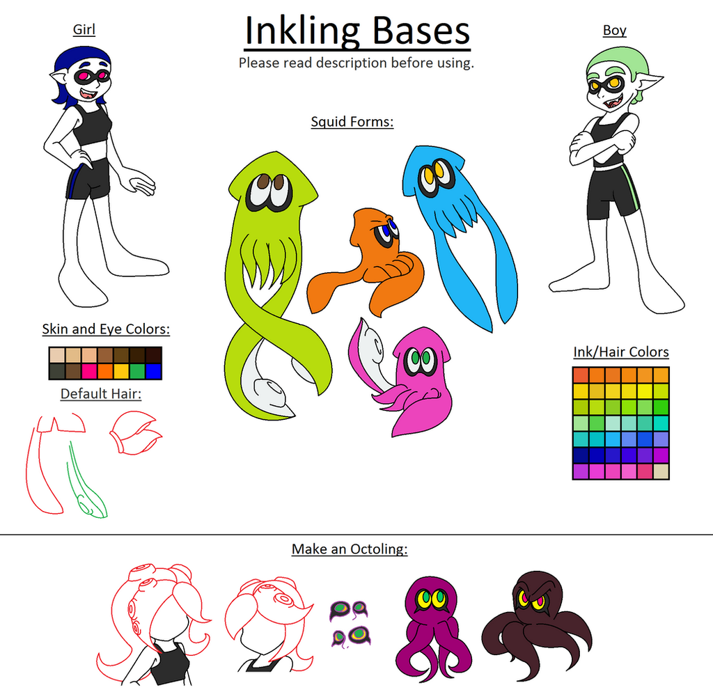 Character Design Where To Start : Inkling bases by fennecthunderfox on deviantart