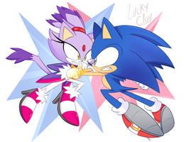 Art Trade - Sonic VS Blaze