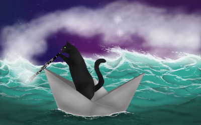 Cat on a boat