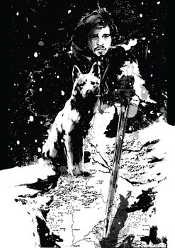 Jon Snow and Ghost from Game of Thrones