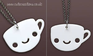 White Coffee Cup Necklace