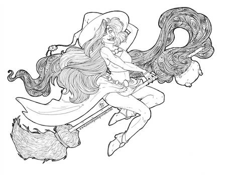 Coloring Page - Witch ReDraw