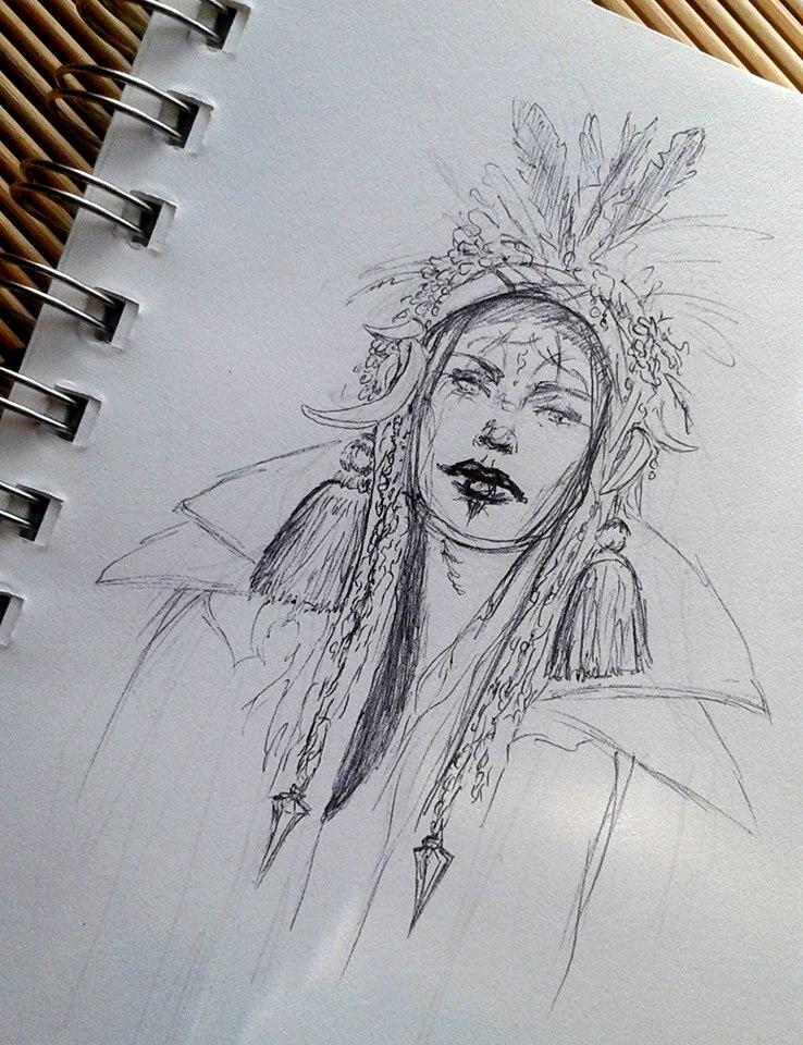 Tribal Girl Sketch : INKtober 2014 by DymondStarr