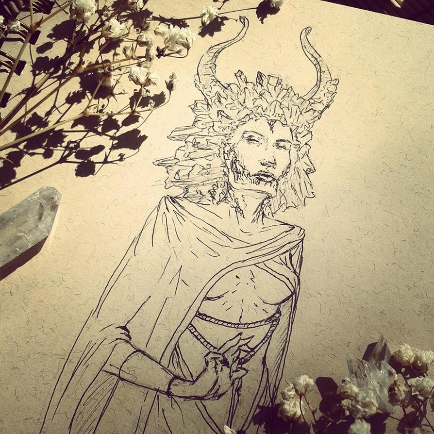 Crystal Queen INKtober 2014 #7 by DymondStarr