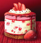 Deep Red Strawberry Cheesecake