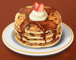 Chocolate Chip Pancakes Study by ScarletWarmth