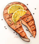 Grilled Salmon Steak Illustration