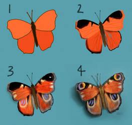 Timelapse - Peacock Butterfly Digital Drawing