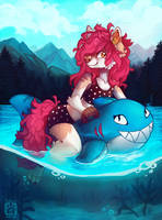 Beware, sharks in lake by Flemaly
