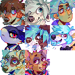 Headshot pixel icons by Flemaly