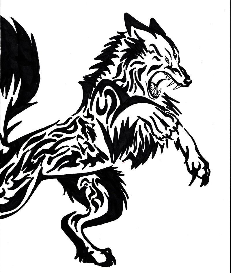 tribal tattoo wolf. Two wolf tribal-ish tattoo by