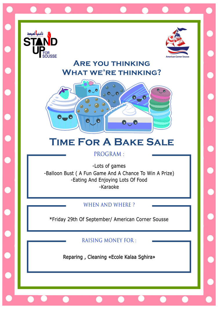 Bake Sale flyer for Stand up for Sousse by spower777