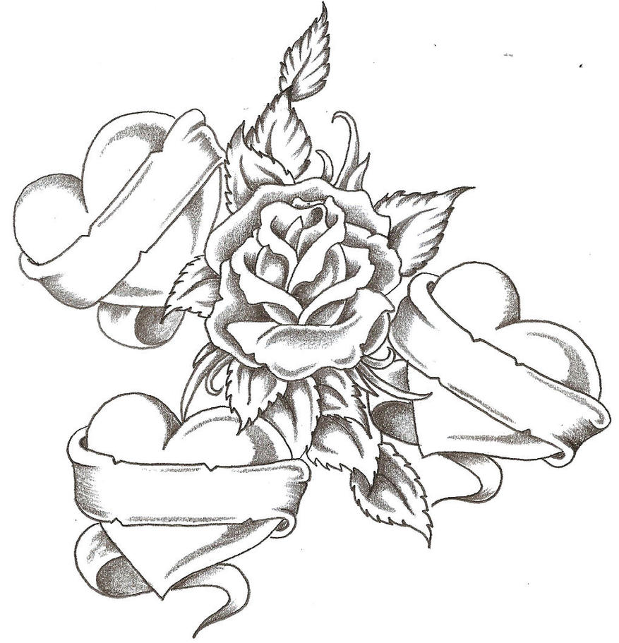 Love hearts possible tattoo desgin by sxysam on deviantart for Pretty rose drawings