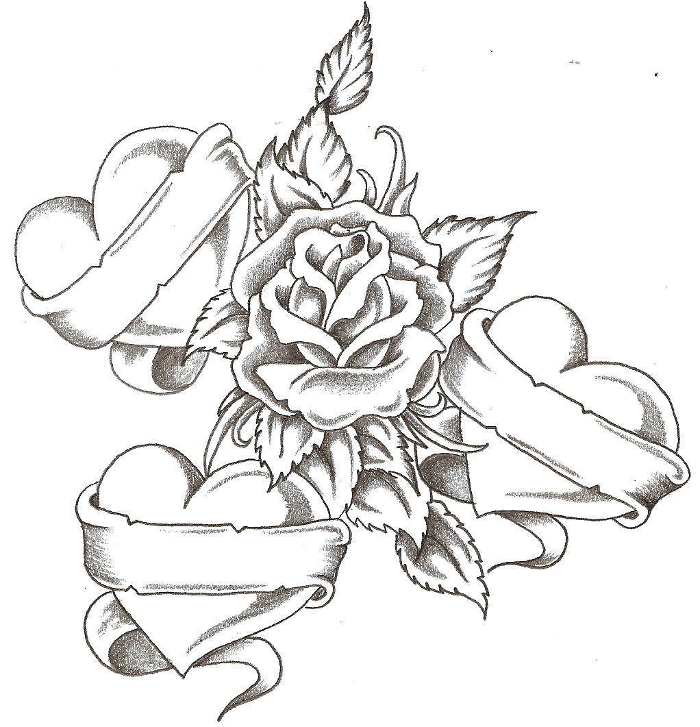 Drawings Of Roses And Hearts With The Steps Drawing Of A Rose And Heart