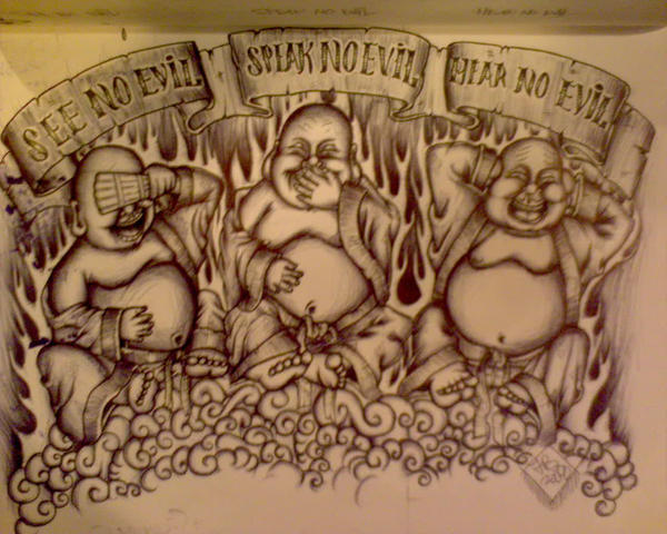 See no evil hear no evil speak no evil drawing