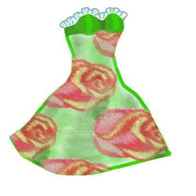 green dress with roses by WhiteLedy