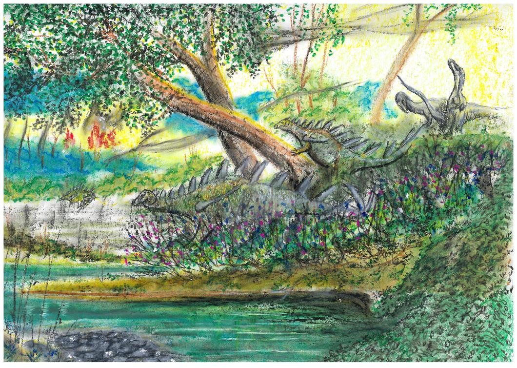Kentrosaurus and Elaphrosaurus by PedroSalas
