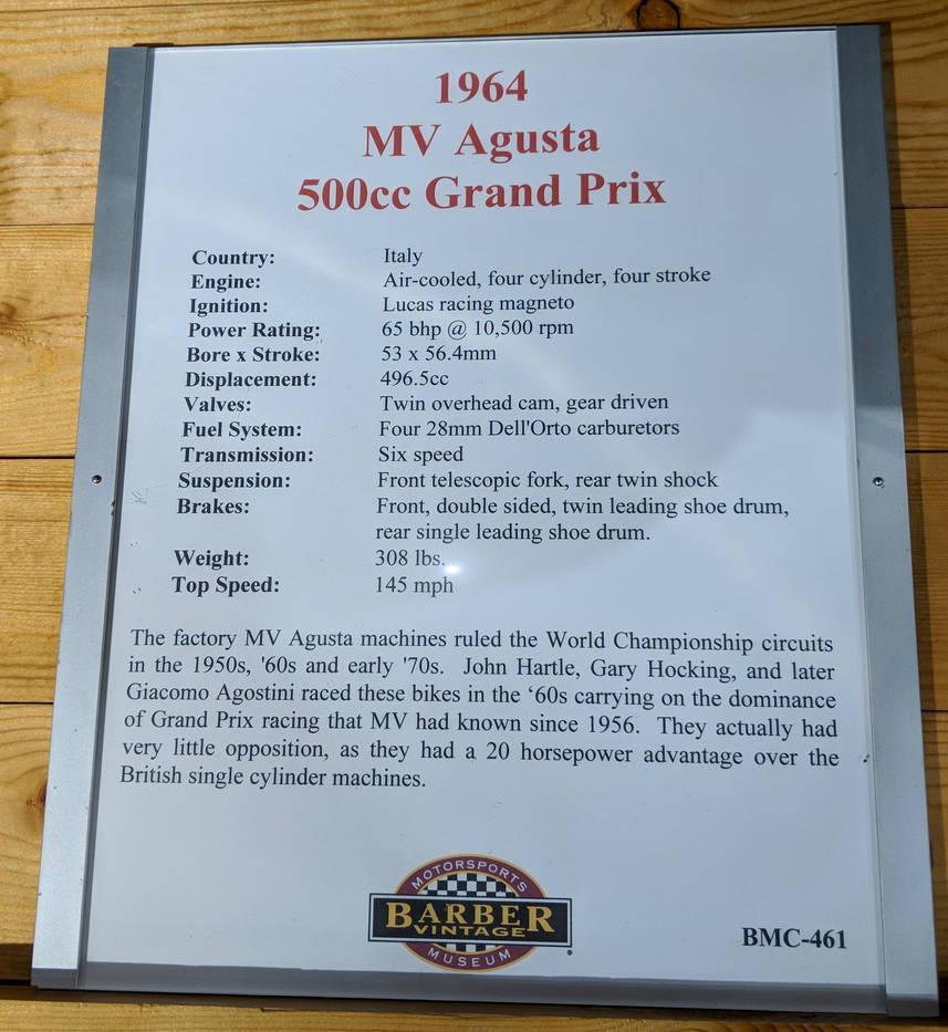 1964 MV Agusta 500cc Grand Prix Information by Caveman1a on