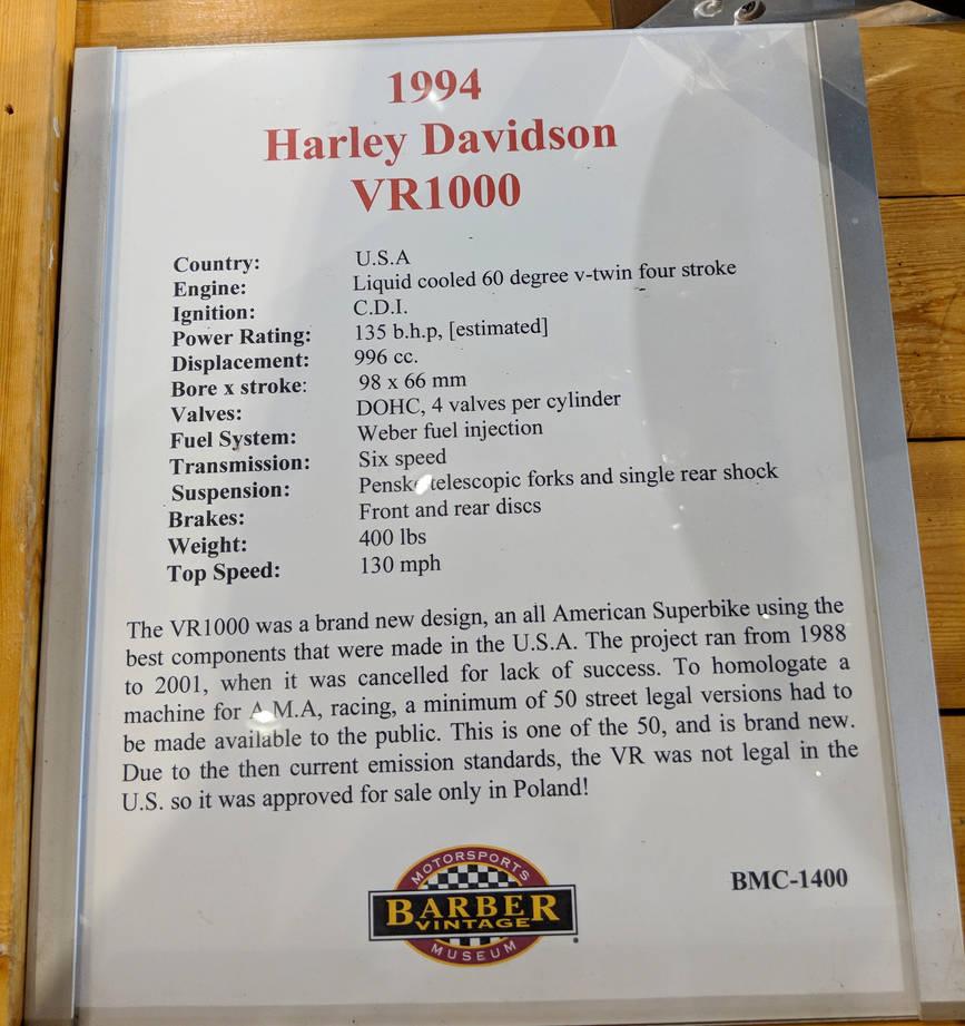 1994 Harley-Davidson VR 1000 Information 2 of 2 by Caveman1a