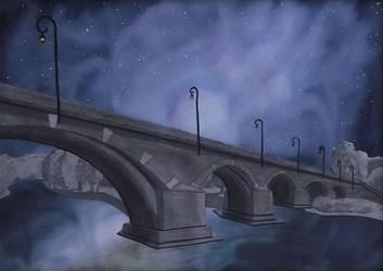 Bridge under a starry sky by Tsukiyo-Isekai
