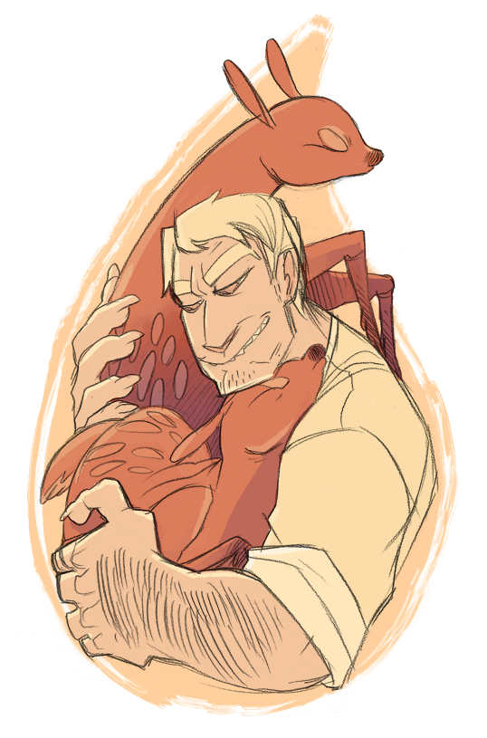 Grandpa Henry Cuddling Some Adorable Fawns by Psshaw