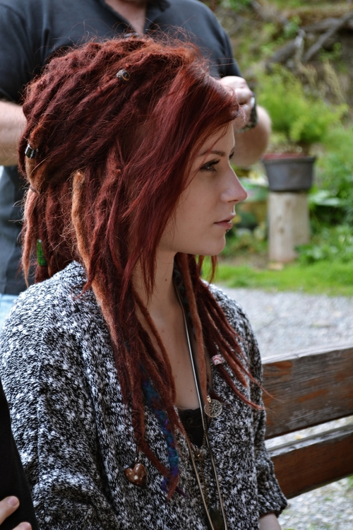girl attractive dreadlocks red hair