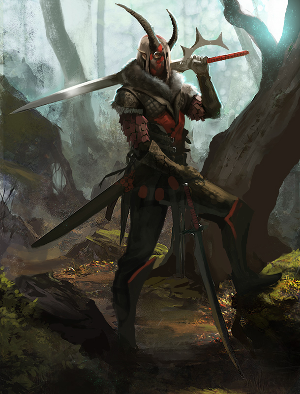 posing_in_the_forest_with_some_swords_wi