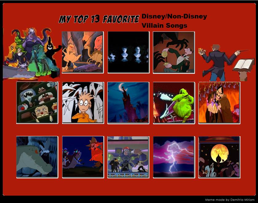 My top 13 disney non disney villain songs meme by for Top ten house songs