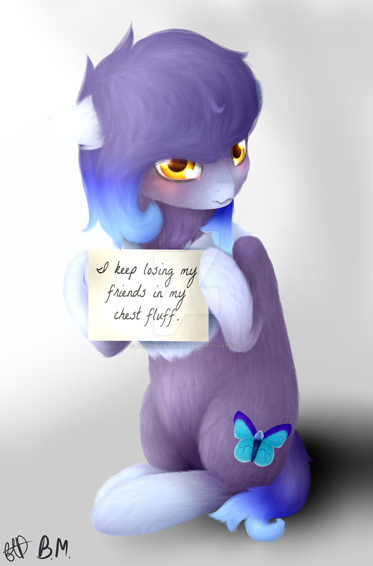 I keep losing my friends in my chest fluff by FrozenTwoDeath