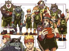 Basketball team of the dog by inubiko