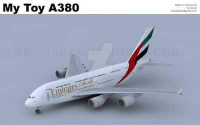 Emirates A380 Cinema 4D Toy Plane