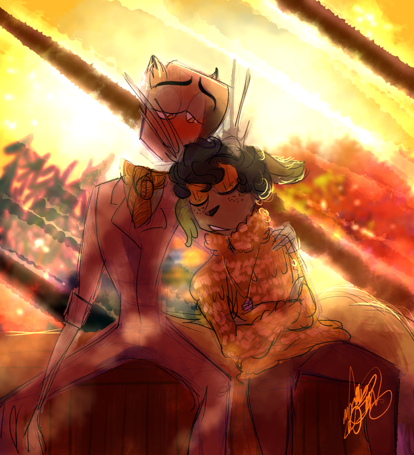 Autumn Boyfriends: Resting on His Shoulder by CraftyPoptropican