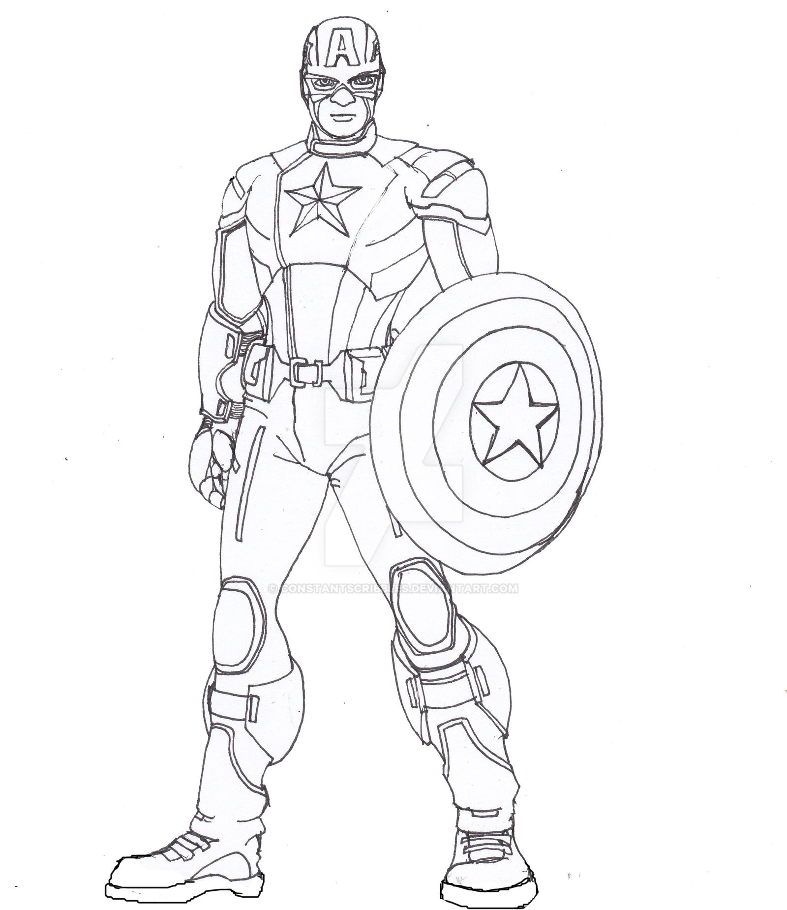 Line Drawing In C : Captain america lines by constantscribbles on deviantart